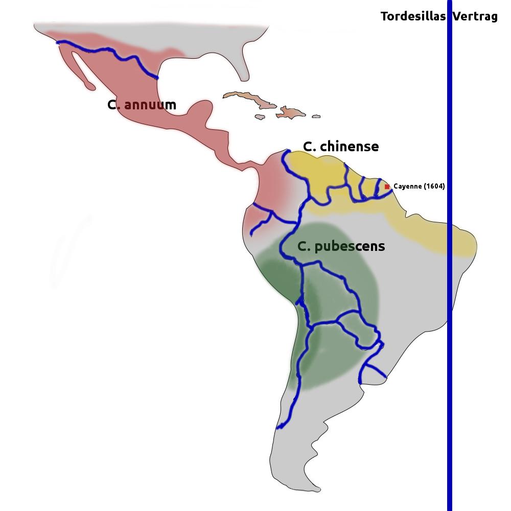 Bild Chili Verbreitung 1492